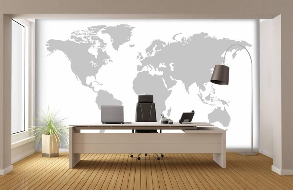 Wereldkaart behang - Grijze wereldkaart - Verkoopafdeling 4