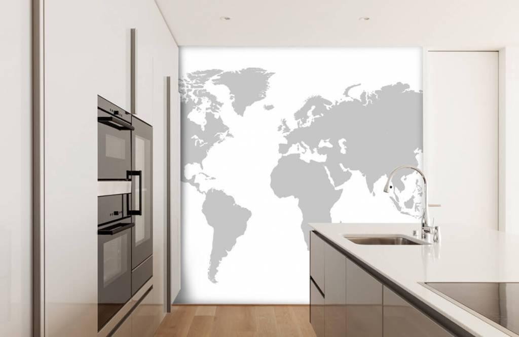 Wereldkaart behang - Grijze wereldkaart - Verkoopafdeling 5