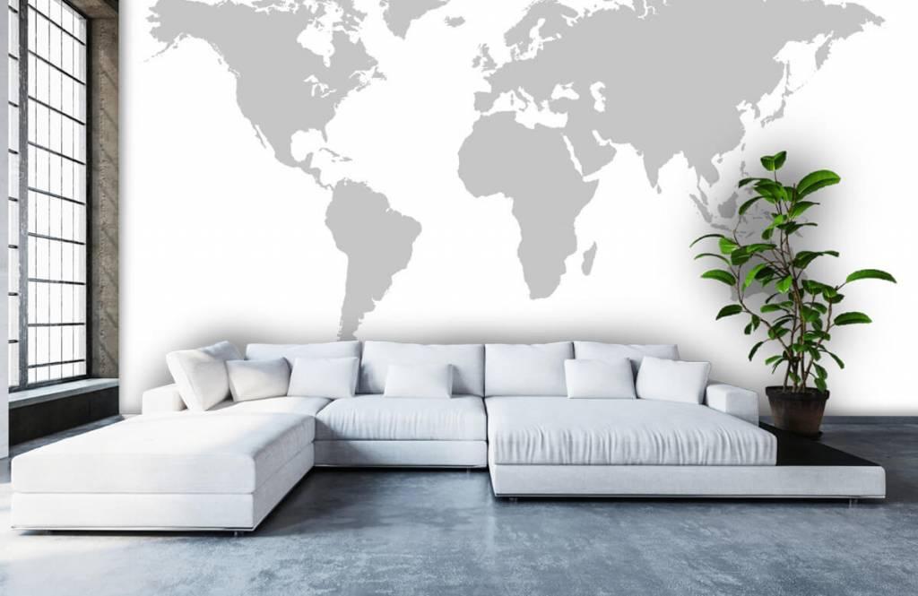 Wereldkaart behang - Grijze wereldkaart - Verkoopafdeling 6