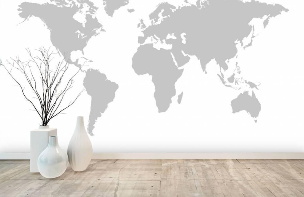 Wereldkaart behang - Grijze wereldkaart - Verkoopafdeling 7
