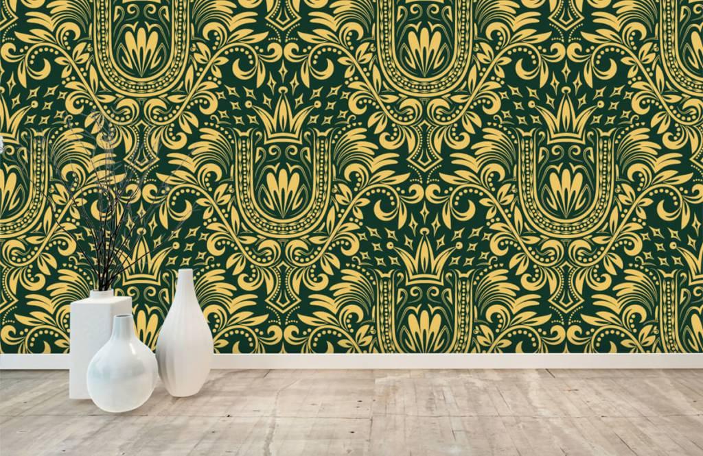 Behang Met Afbeelding.Behang Met Een Groen Barok Patroon Fotobehang