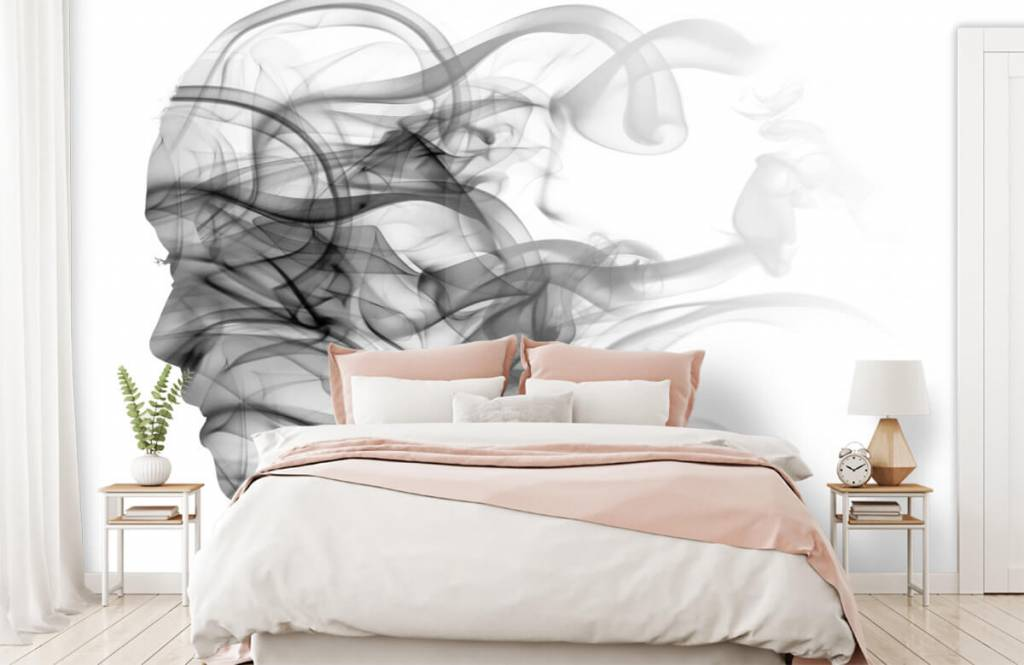 Modern behang - Hoofd gevormd uit rook - Kantoor 2