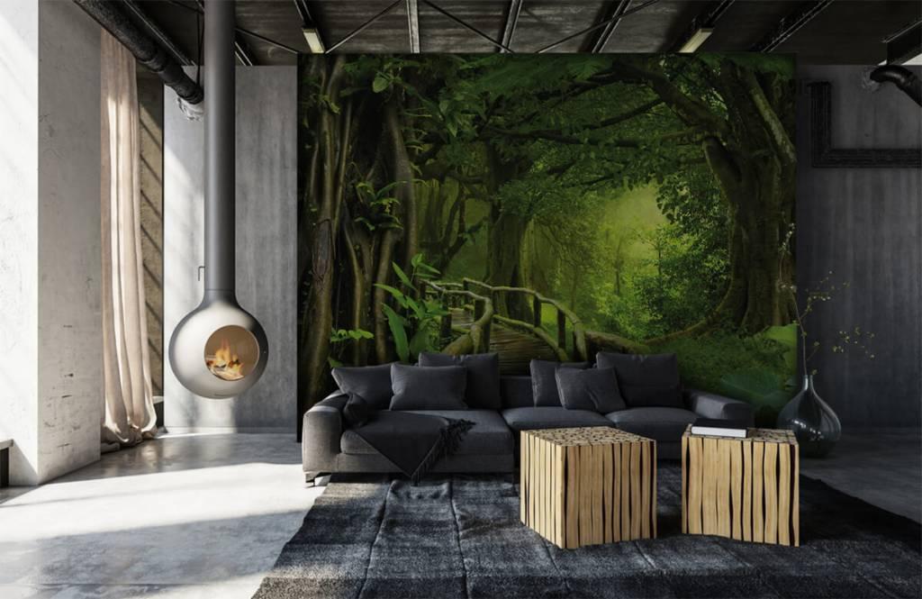 Bomen - Houten brug door een groene jungle - Slaapkamer 6