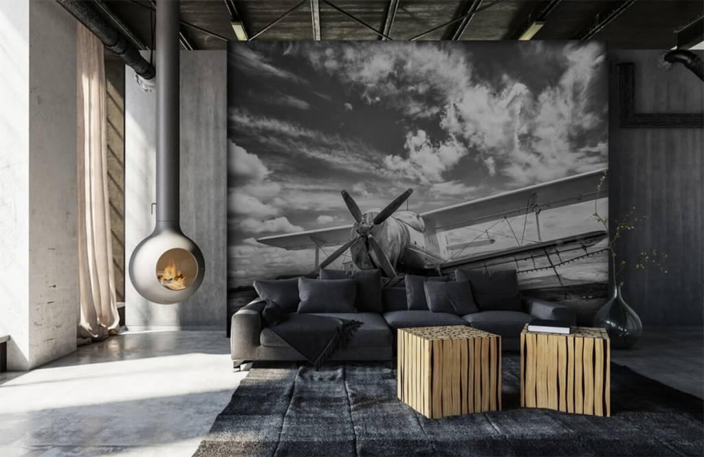 Zwart Wit behang - Klassiek vliegtuig - Tienerkamer 1
