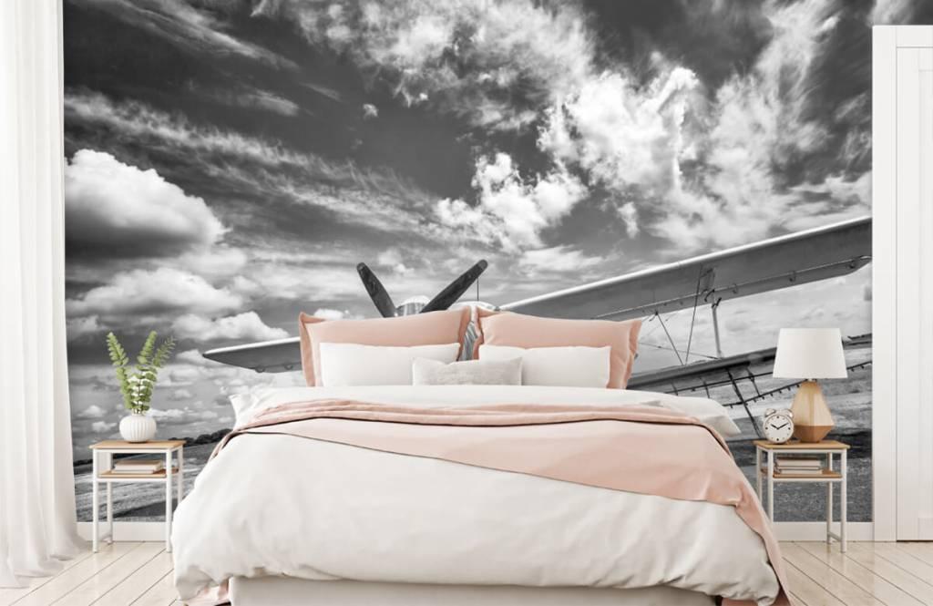Zwart Wit behang - Klassiek vliegtuig - Tienerkamer 2