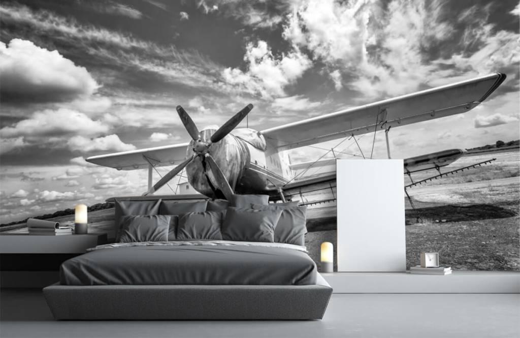 Zwart Wit behang - Klassiek vliegtuig - Tienerkamer 3