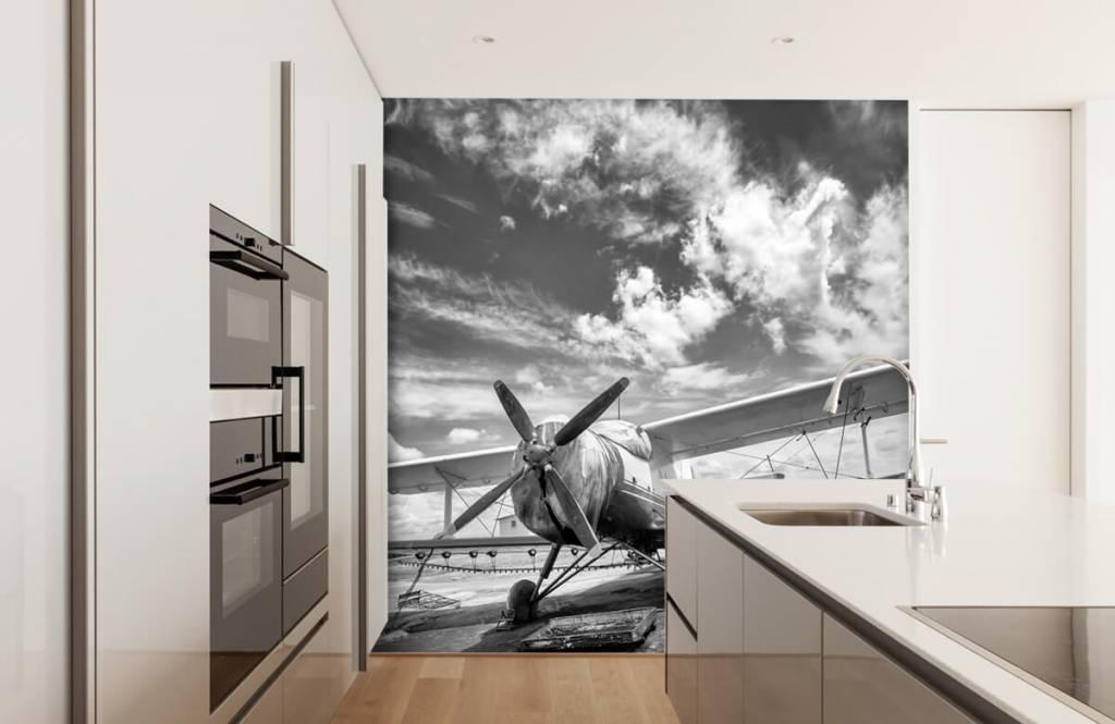 Zwart Wit behang - Klassiek vliegtuig - Tienerkamer 4