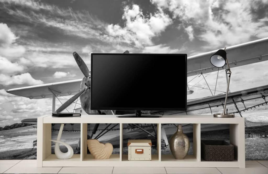 Zwart Wit behang - Klassiek vliegtuig - Tienerkamer 5