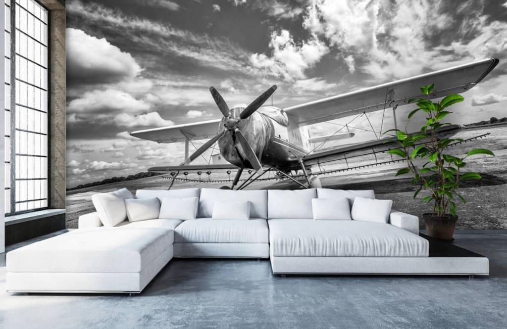 Zwart Wit behang - Klassiek vliegtuig - Tienerkamer 6
