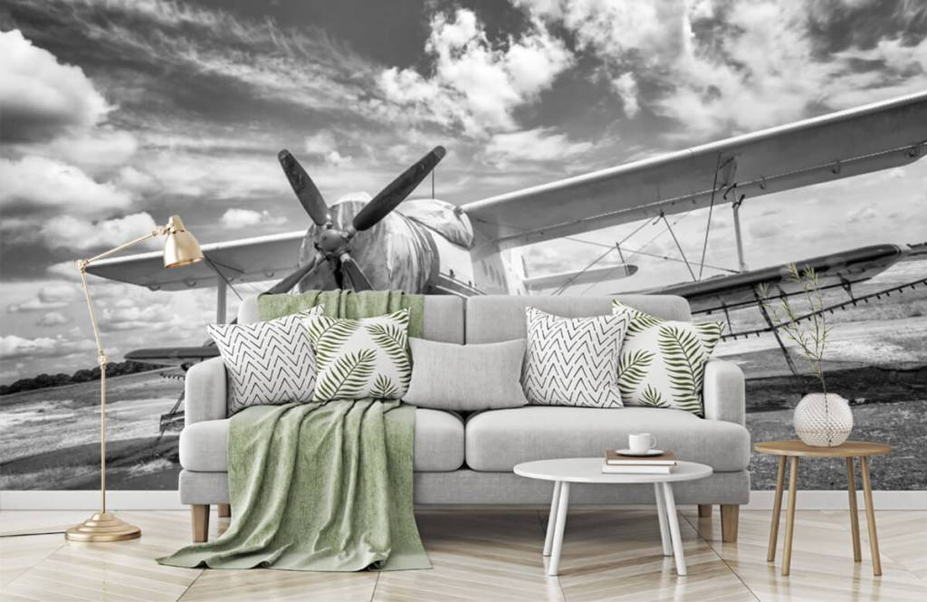 Zwart Wit behang - Klassiek vliegtuig - Tienerkamer 7