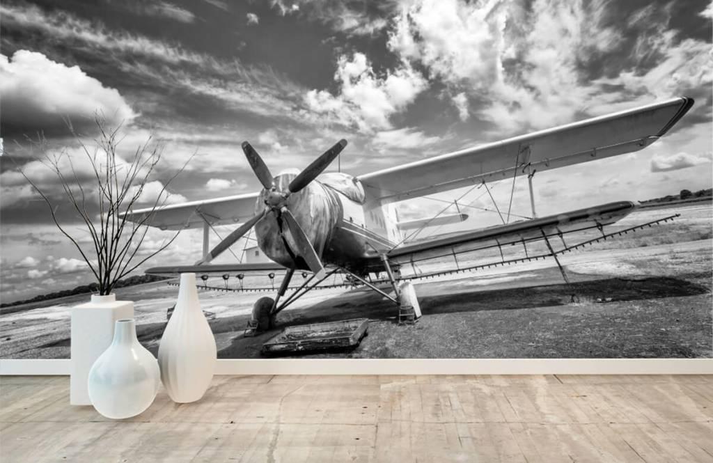 Zwart Wit behang - Klassiek vliegtuig - Tienerkamer 8