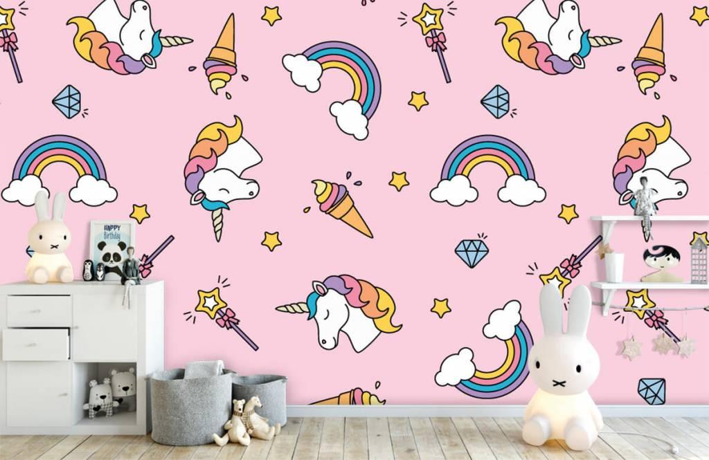 Paarden - Kleurrijke eenhoorn patroon - Kinderkamer 1
