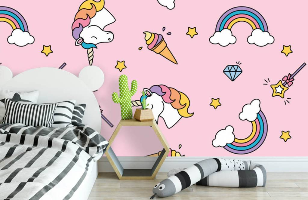 Paarden - Kleurrijke eenhoorn patroon - Kinderkamer 3
