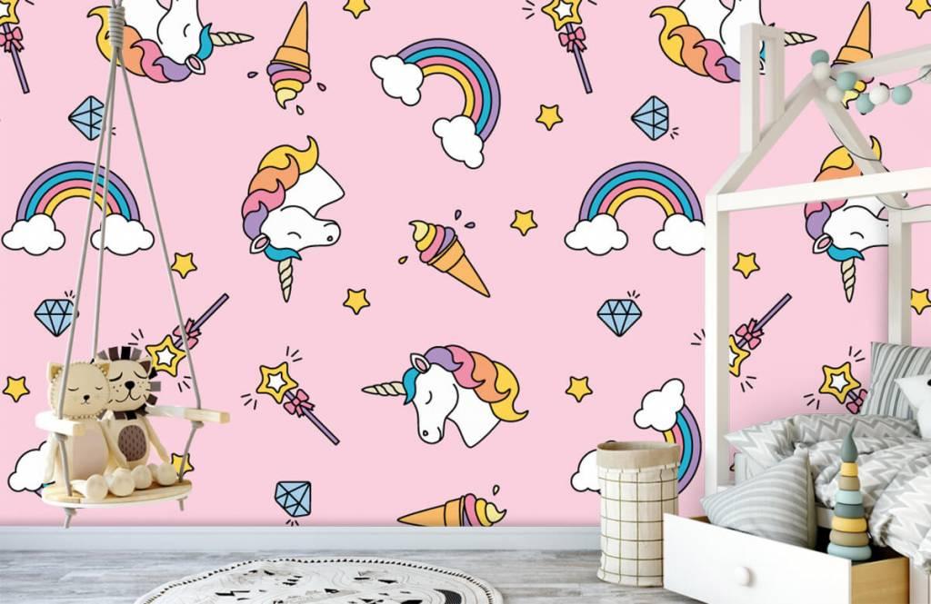 Paarden - Kleurrijke eenhoorn patroon - Kinderkamer 4