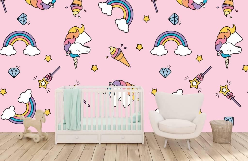 Paarden - Kleurrijke eenhoorn patroon - Kinderkamer 5