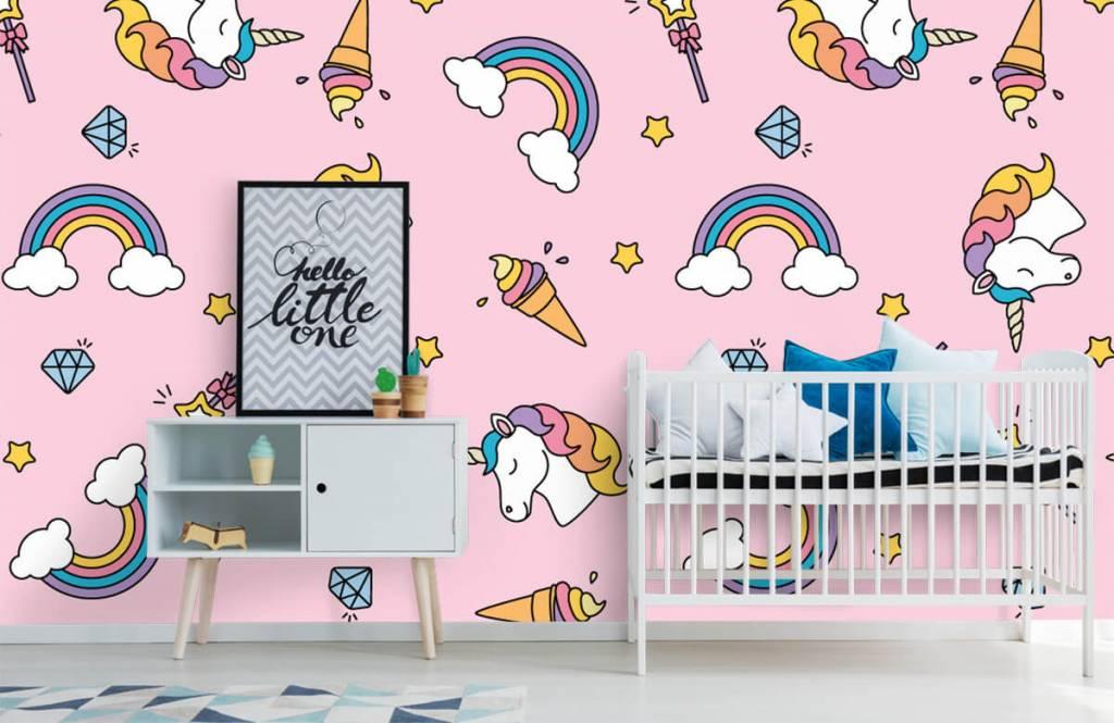 Paarden - Kleurrijke eenhoorn patroon - Kinderkamer 6
