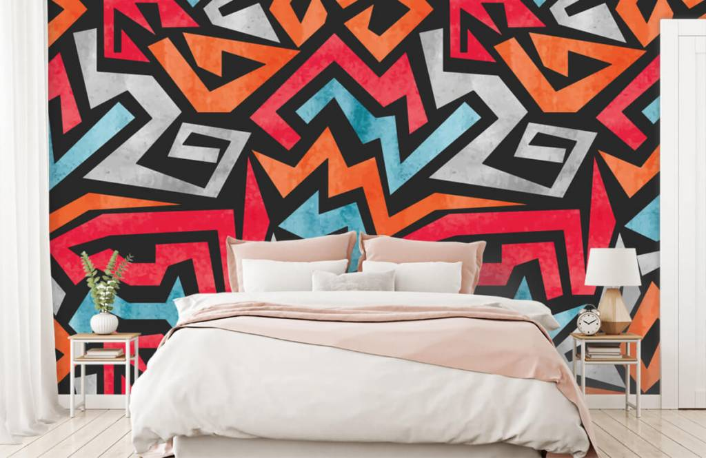 Graffiti - Kleurrijke grafische print - Tienerkamer 2