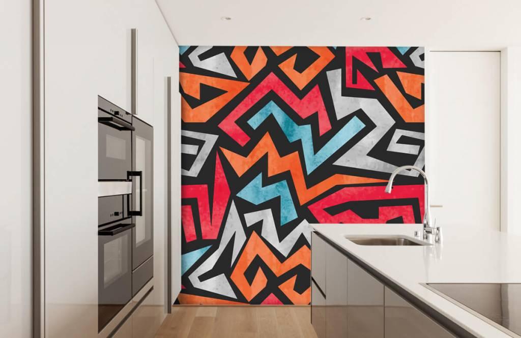Graffiti - Kleurrijke grafische print - Tienerkamer 4