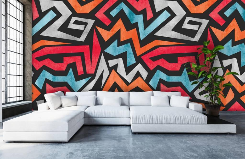 Graffiti - Kleurrijke grafische print - Tienerkamer 5