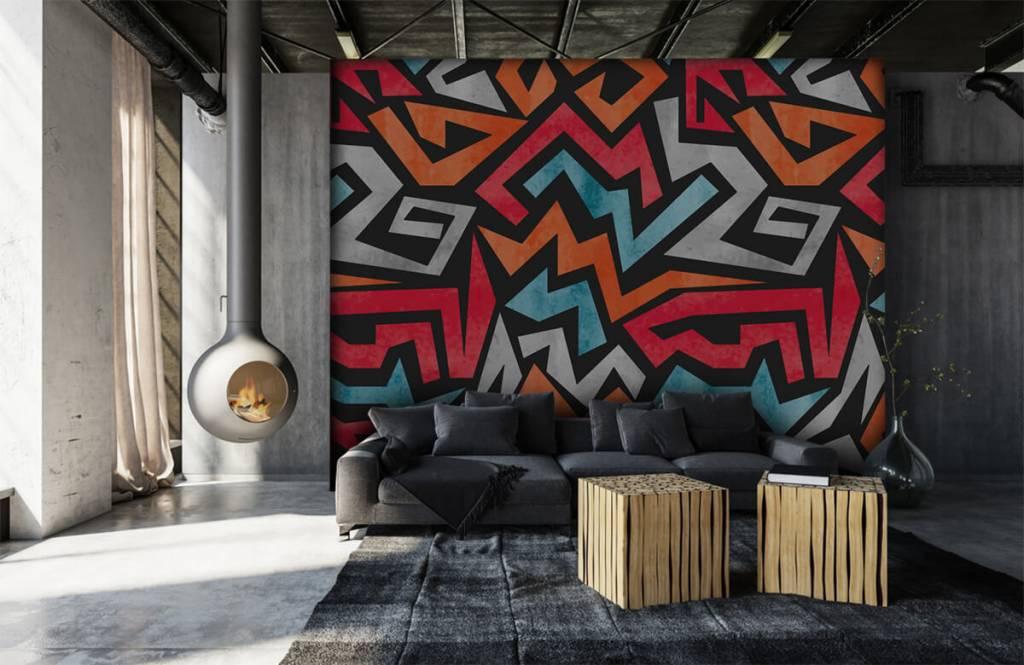 Graffiti - Kleurrijke grafische print - Tienerkamer 6