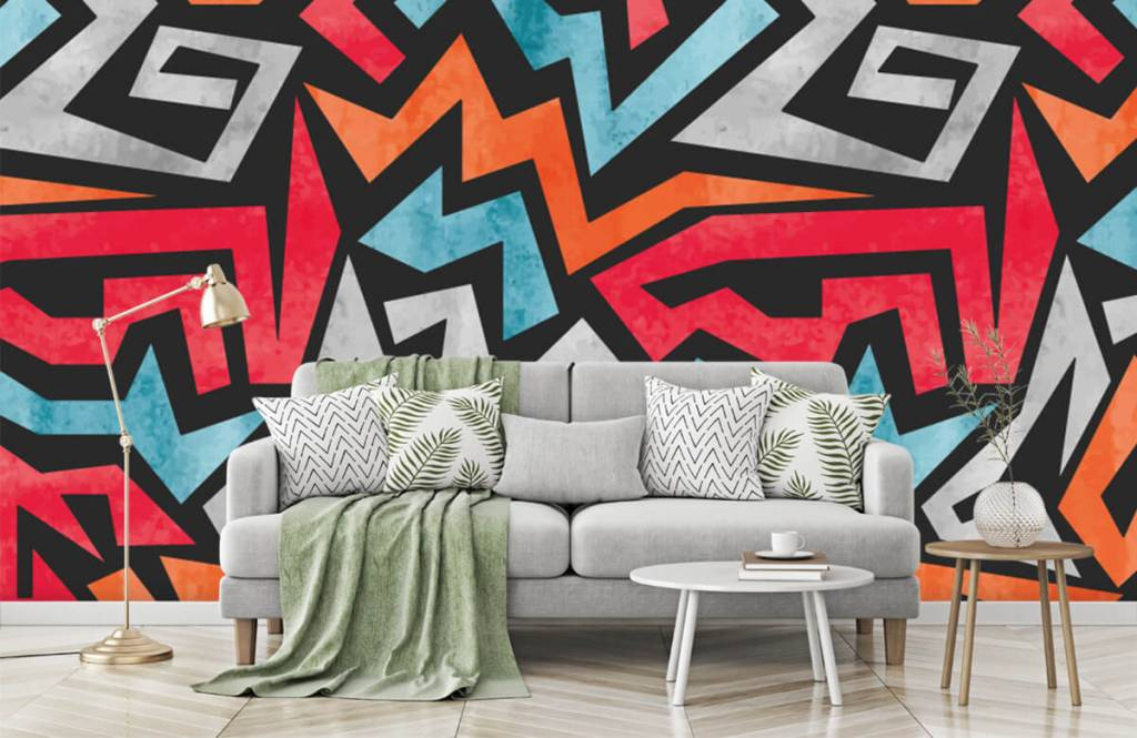 Graffiti - Kleurrijke grafische print - Tienerkamer 7