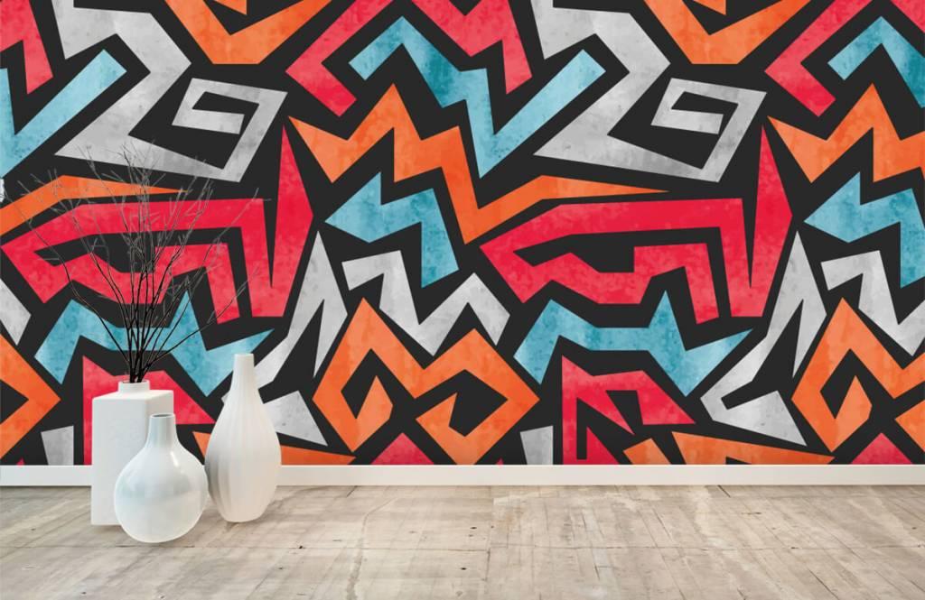 Graffiti - Kleurrijke grafische print - Tienerkamer 8