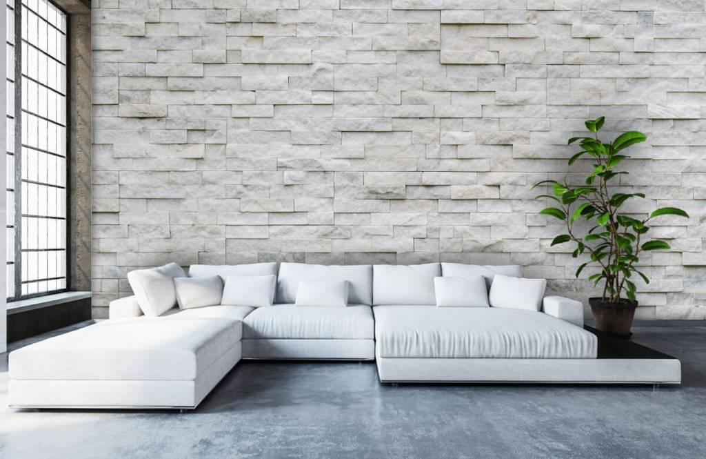 Foto Op De Muur.Behang Met Een Moderne Stenen Muur Fotobehang