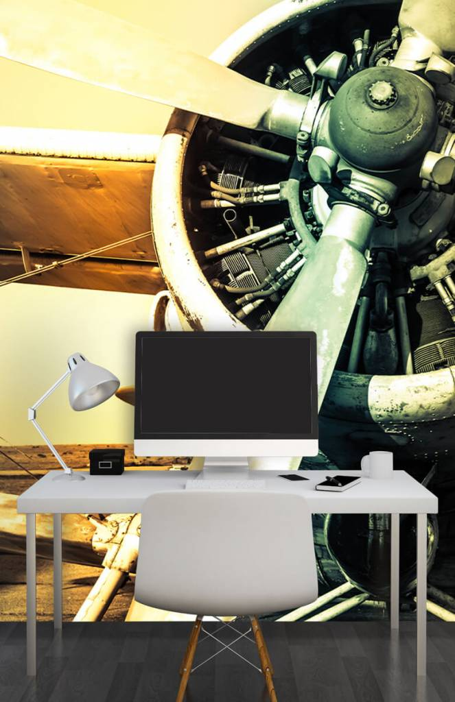 Retro behang - Oude vliegtuig - Slaapkamer 3