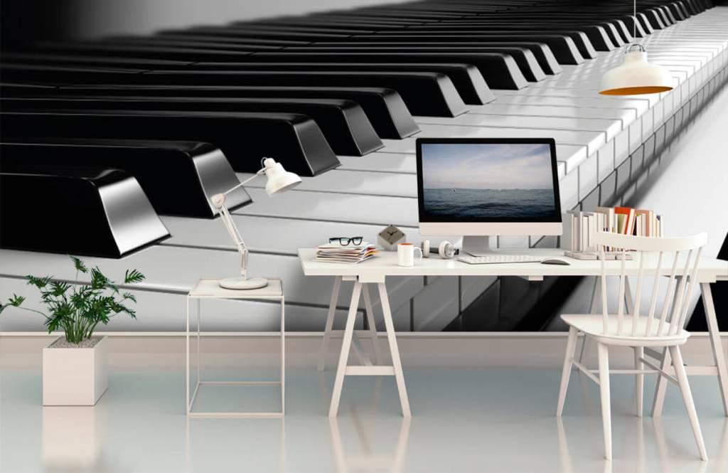 Zwart Wit behang - Piano - Hobbykamer 1