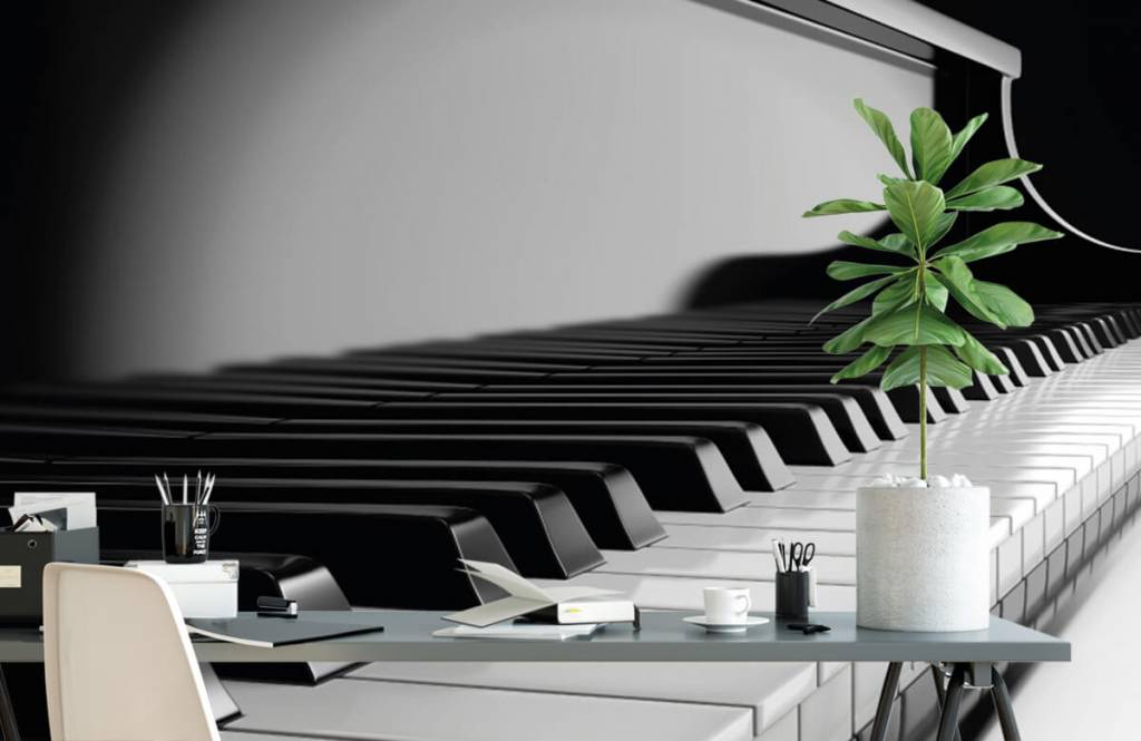 Zwart Wit behang - Piano - Hobbykamer 2