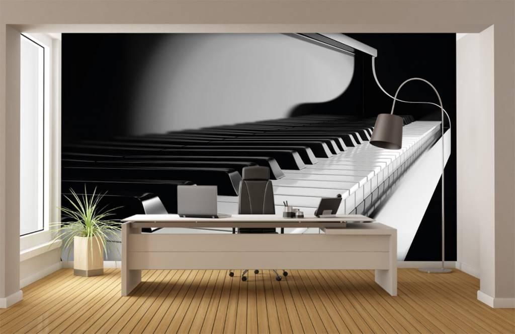 Zwart Wit behang - Piano - Hobbykamer 3