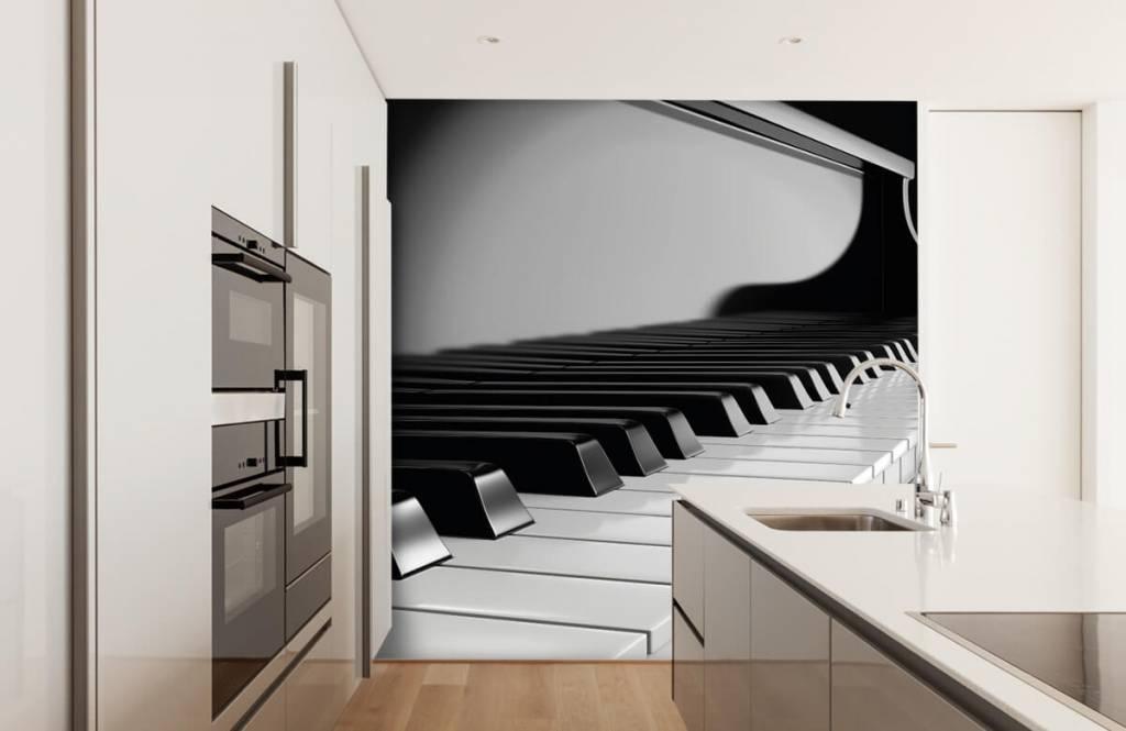 Zwart Wit behang - Piano - Hobbykamer 4