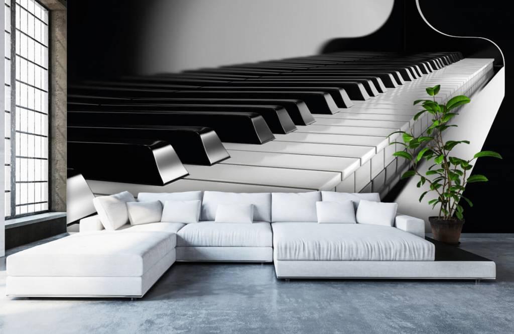 Zwart Wit behang - Piano - Hobbykamer 5