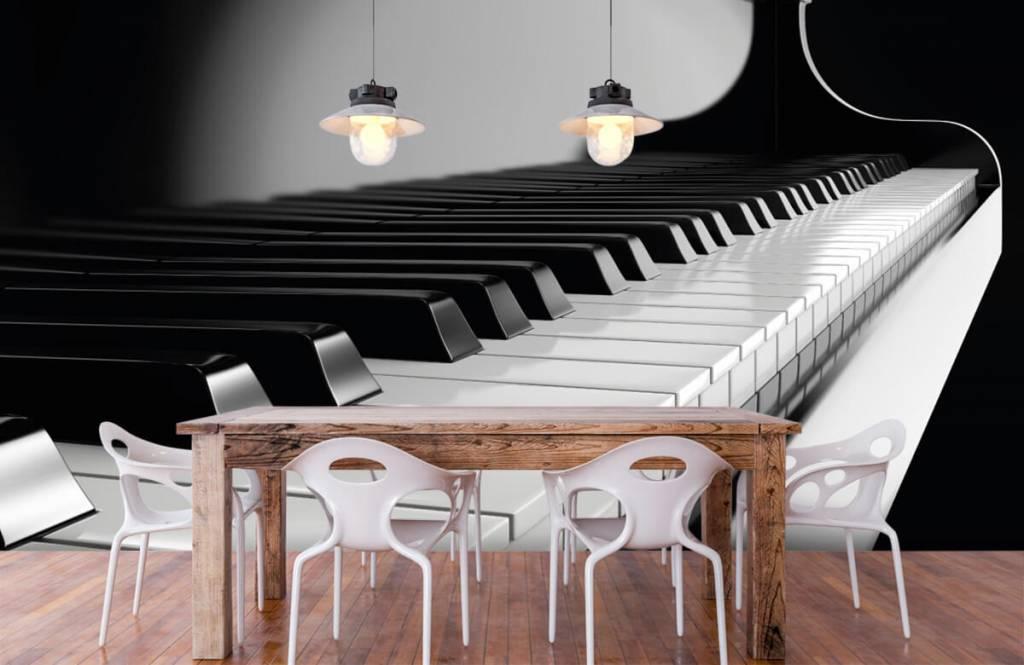 Zwart Wit behang - Piano - Hobbykamer 6