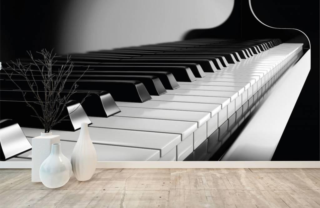 Zwart Wit behang - Piano - Hobbykamer 7
