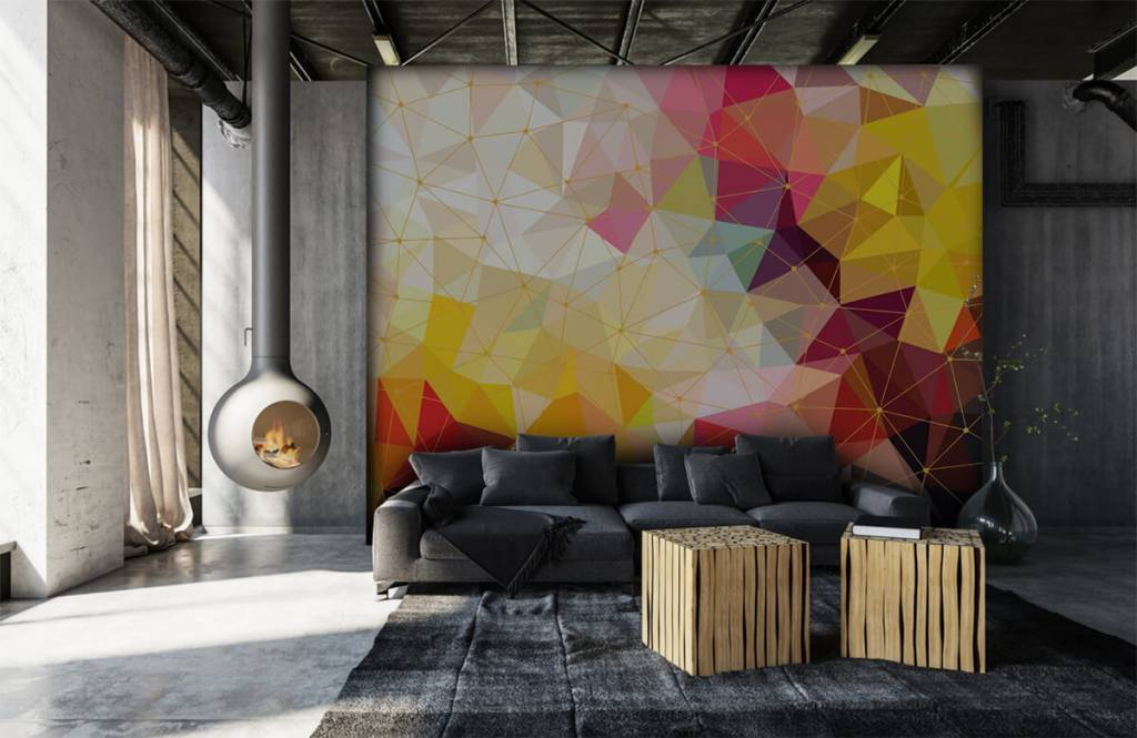 Overige - Print van kleurrijke driehoeken - Slaapkamer 1