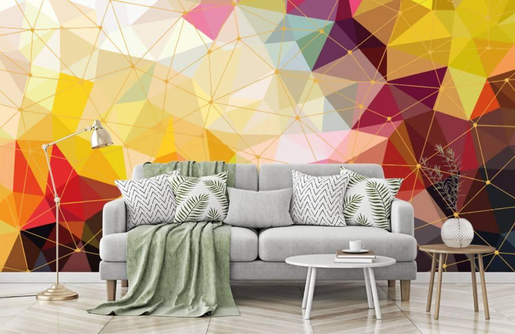 Overige - Print van kleurrijke driehoeken - Slaapkamer 2