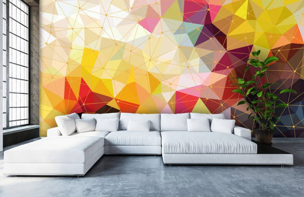 Overige - Print van kleurrijke driehoeken - Slaapkamer 3