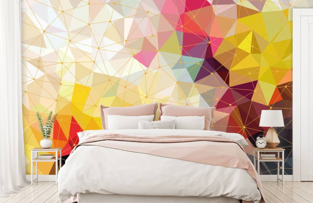 Overige - Print van kleurrijke driehoeken - Slaapkamer 4