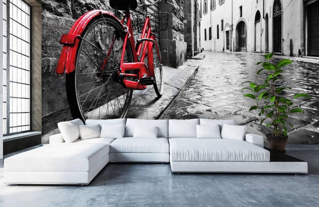 Steden behang - Rode fiets - Slaapkamer 1