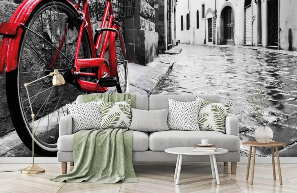 Steden behang - Rode fiets - Slaapkamer 2