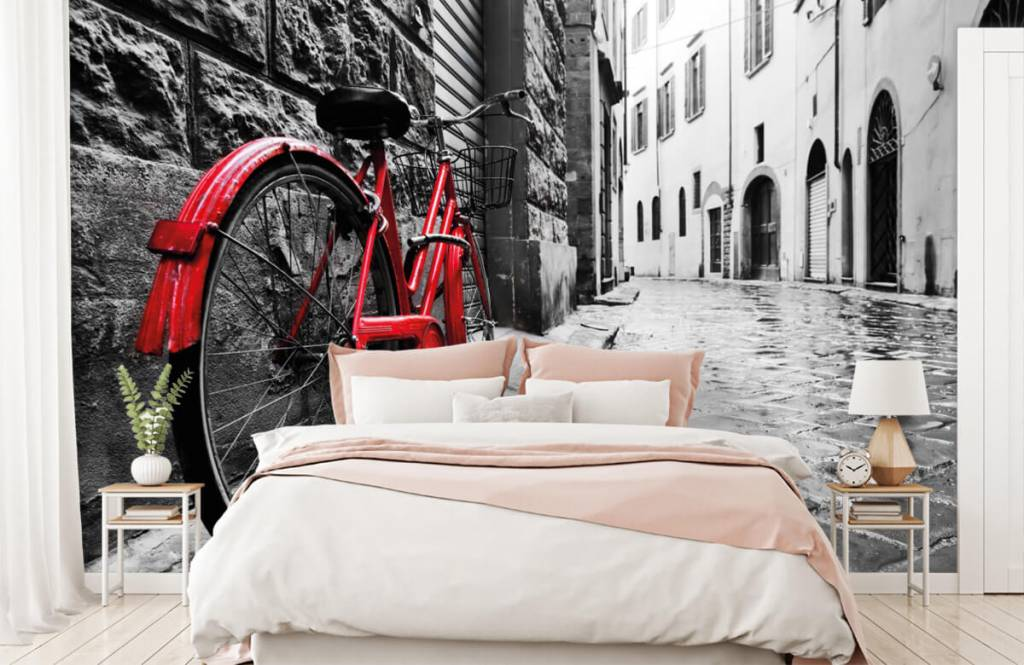 Steden behang - Rode fiets - Slaapkamer 3