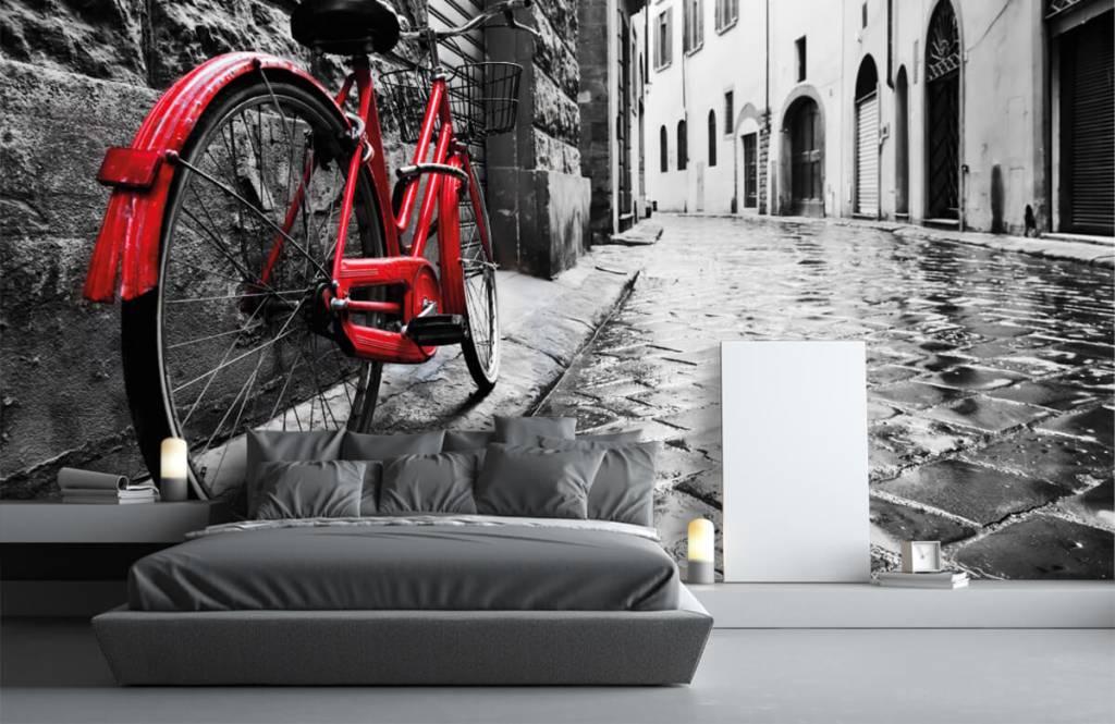 Steden behang - Rode fiets - Slaapkamer 4