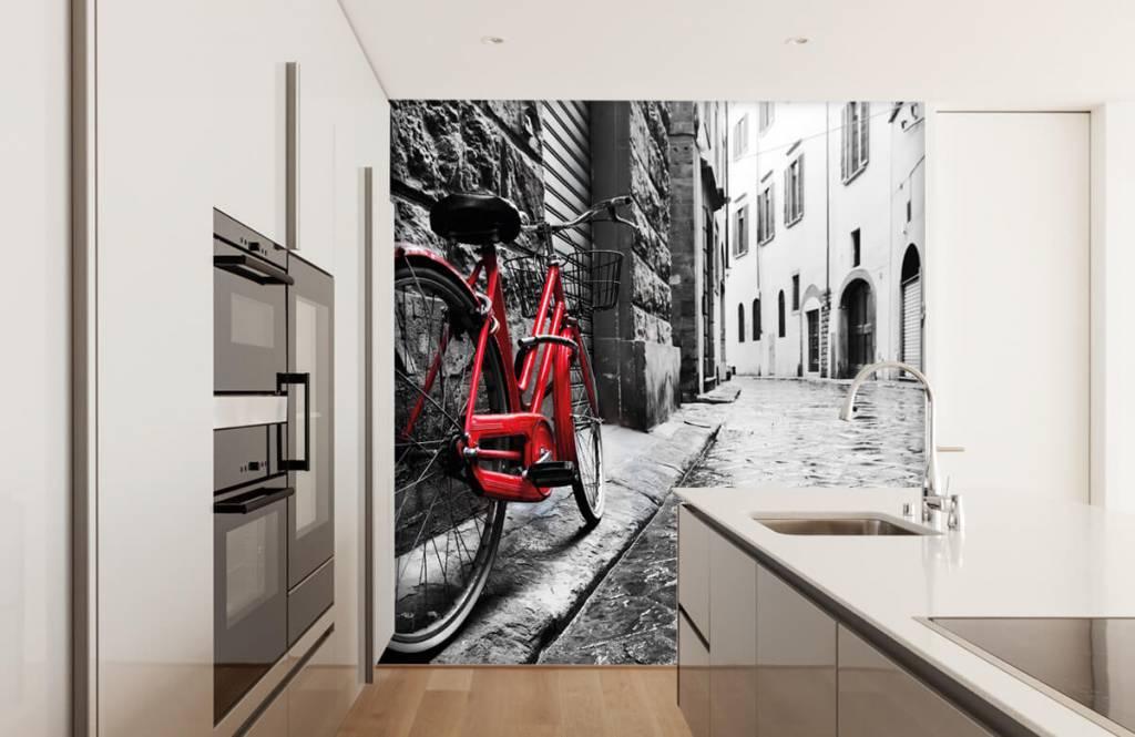 Steden behang - Rode fiets - Slaapkamer 5