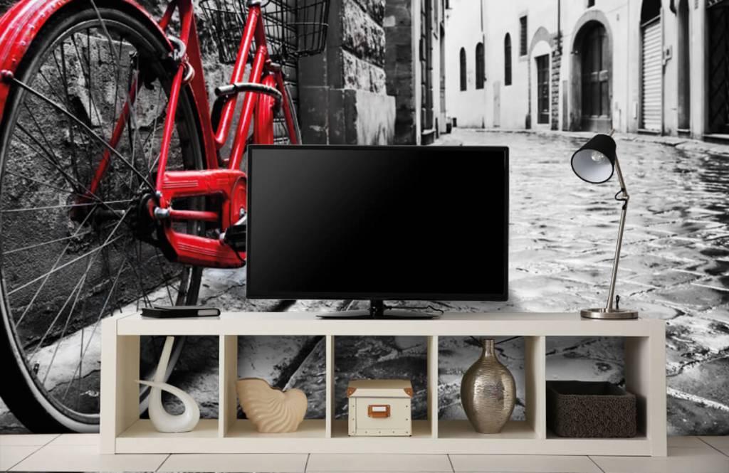 Steden behang - Rode fiets - Slaapkamer 6