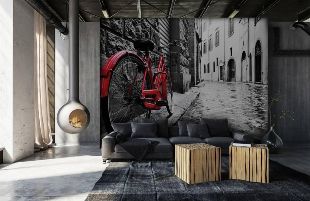 Steden behang - Rode fiets - Slaapkamer 7
