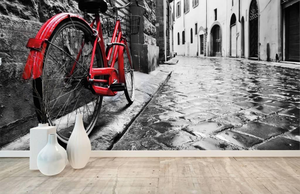 Steden behang - Rode fiets - Slaapkamer 8