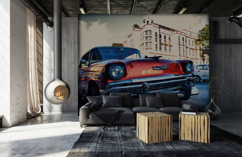 Transport - Rode klassieke auto - Slaapkamer 7