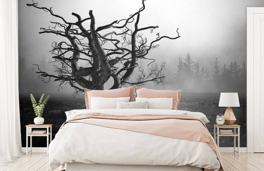 Zwart Wit behang - Sierlijke boom - Slaapkamer 2