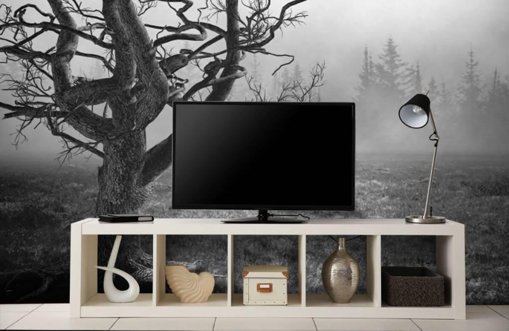 Zwart Wit behang - Sierlijke boom - Slaapkamer 5